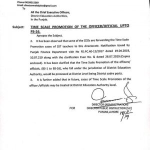 Time Scale Promotion of the Officers / Official upto PS-16