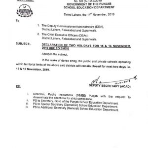 Notification of Two Holidays Due to Smog by School Education Department Punjab