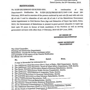 Notification of Upper Age Limit Relaxation upto 43 Years Balochistan Govt