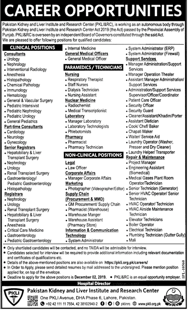 Vacancies in Pakistan Kidney and Liver Institute and Research Center