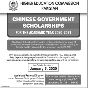 Chinese Government Scholarships 2020-21 for Undergraduate, Master & Ph.D
