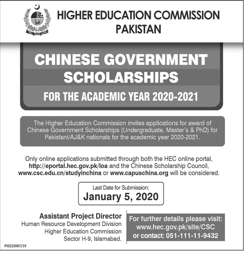 Chinese Government Scholarships 2020-21
