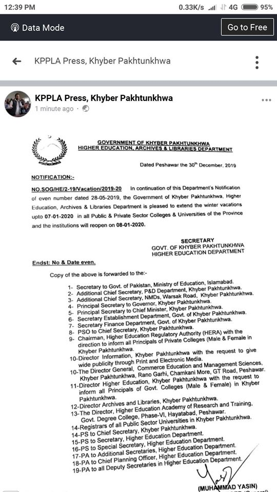 Extension Winter Holidays 2019-2020 KPK Colleges