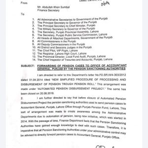 Notification of Forwarding of Pension Cases Direct to Office of AG Punjab