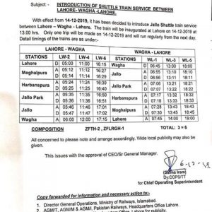 Introduction of Jallo Shuttle Train Service between Lahore Wagha Lahore
