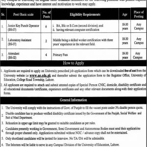 Jobs in University of Education Lahore for Disabled Persons