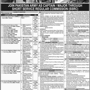 Join Pak Army as Major / Captain through SSRC