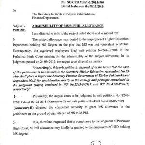 Admissibility of MS / M.Phil Allowance KPK MS Degree Holders