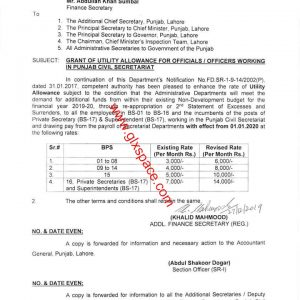 Notification Enhancement Utility Allowance for Official / Officers Working in Civil Secretariat