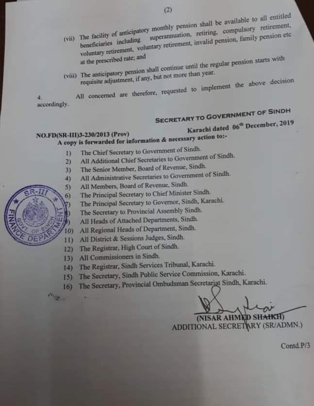 Pension On Retirement Sindh
