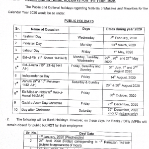 Notification of Optional and Public Holidays 2020 by Ministry of Interior