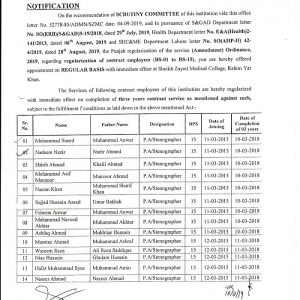 Notification of Regularization SZMC Employees BPS-01 to BPS-15
