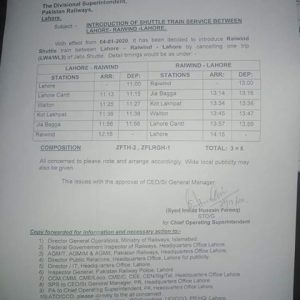 Notification of Introduction of Shuttle Train Service between Lahore Raiwind