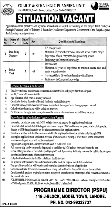 Situation Vacant Primary & Secondary Healthcare Department