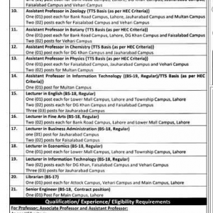 University of Education Lahore Vacancies of Teaching and Non-Teaching