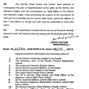 Re-Designation & Upgradation of the Superintendent to BPS-18 LHC Order