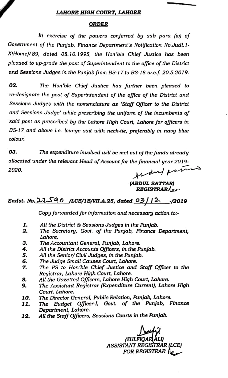 Upgradation of the Superintendent to BPS-18