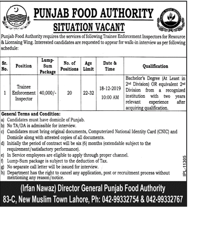 Vacancies of Trainee Enforcement Inspector Punjab Food Authority