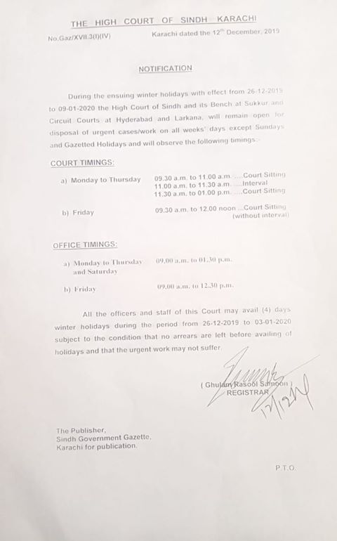 Winter Holidays 2019 High Court of Sindh