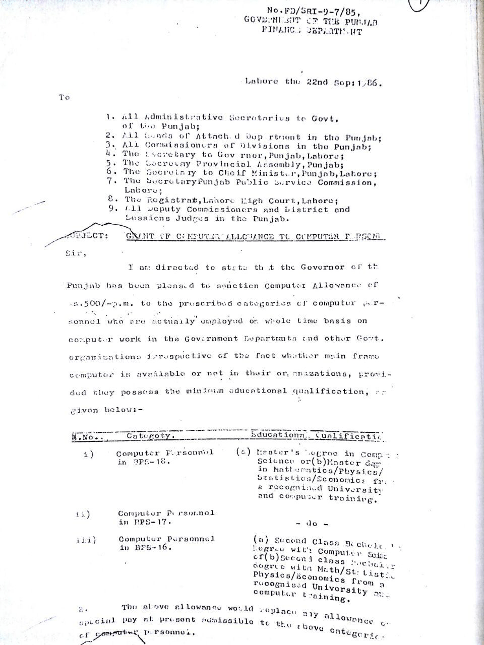All Notifications Computer Allowance Punjab 1986 to Date