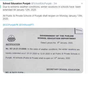 6 Days Further Extension Winter Holidays Punjab Schools (upto 12-01-2020)