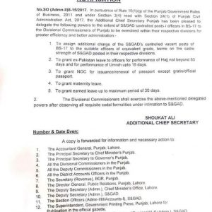 Delegation of Powers of Leaves and NOC for Issuance Passport Punjab