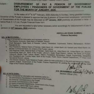 Disbursement January 2020 Pay & Pension in Advance for Punjab Employees & Pensioners
