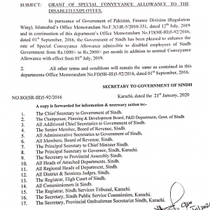 Notification of Enhancement Special Conveyance Allowance Sindh 2020
