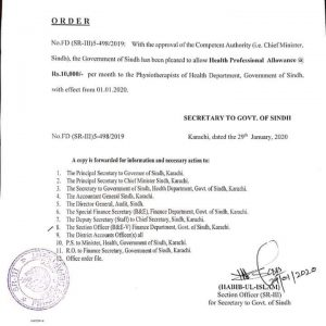 Health Professional Allowance to Physiotherapists Sindh Government