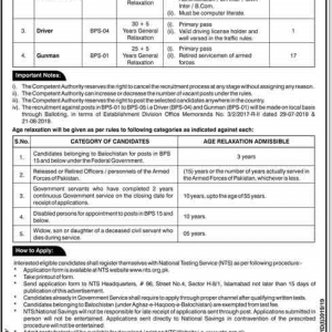 Job Opportunities in Finance Division Govt of Pakistan through NTS