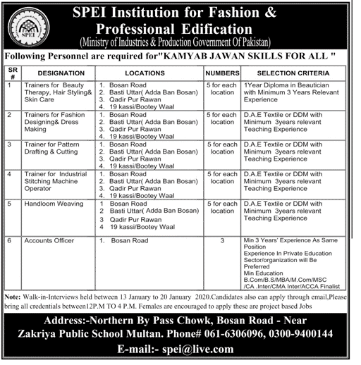 Jobs in SPEI Institution for Fashion