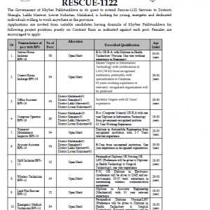 KPK Rescue 1122 Vacancies 2020 Phase IV (387) Through PTS
