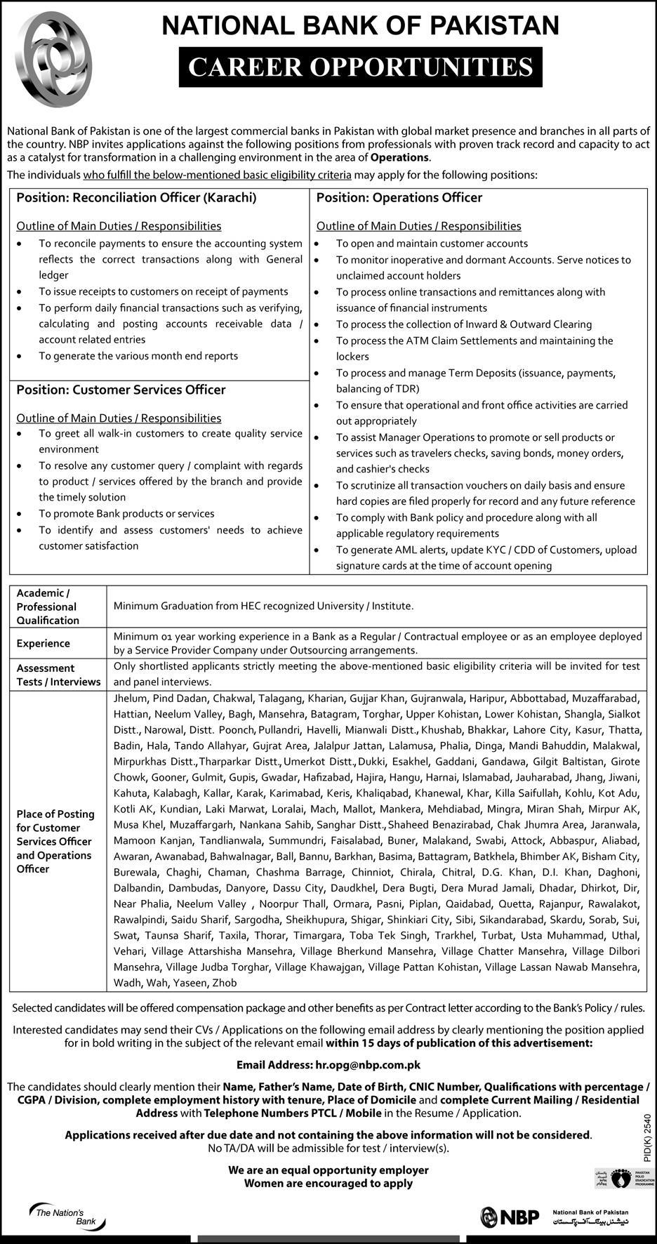 NBP Jobs for Operations