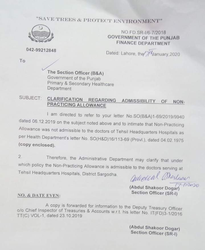 Non Practicing Allowance Health Department