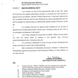 Notification of Ban on General Duty