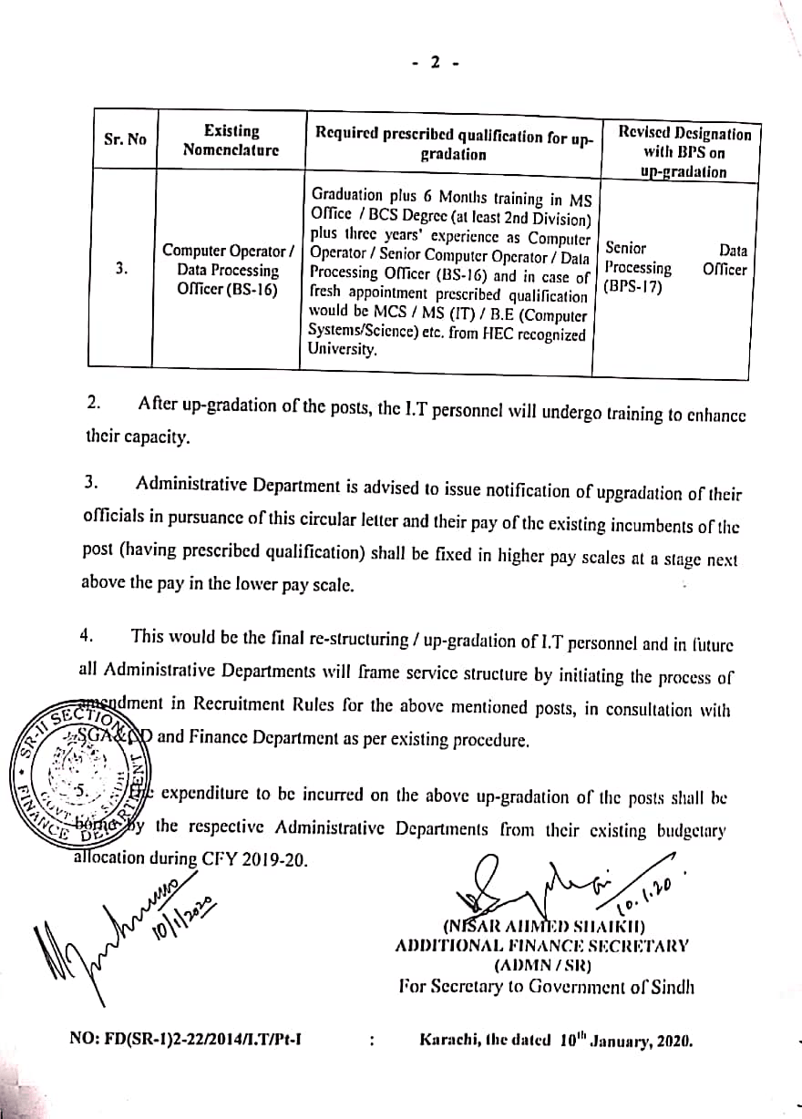 Notification of Upgradation of Data Entry Operator