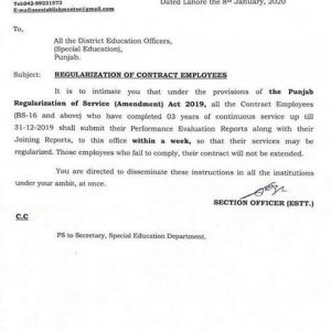 Submission of PERs of Contract Employees of BPS-16 & Above for Regularization