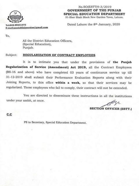 PERs of Contract Employees of BPS-16