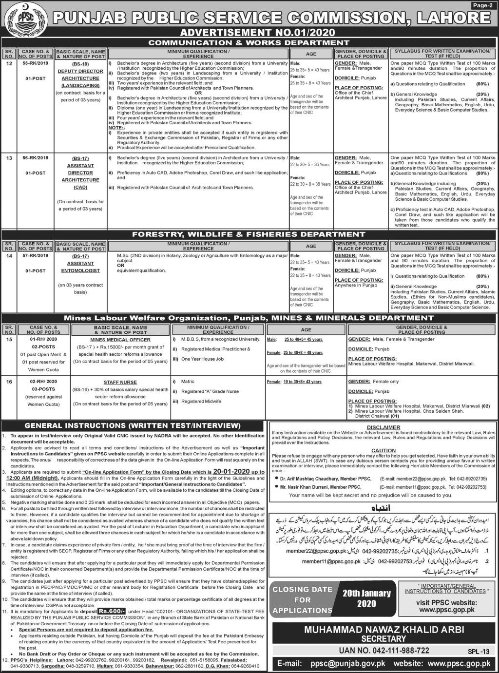 PPSC Advertisement No. 01 of 2020 Jobs