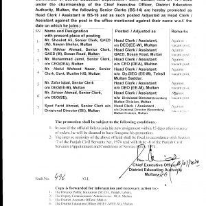 Notification of Promotion of Senior Clerks as Head Clerk School Education Department