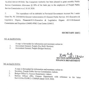 Notification of Monthly Public Service Commission Allowance @ 20% of Basic Pay