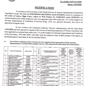 Regularization WASA Faisalabad Employees Appointed Under Rule 17-A
