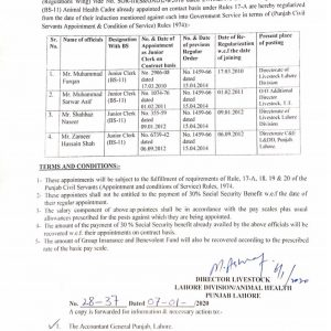 Orders of Regularization from Date of Contract Appointment