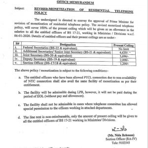 Notification of Revised Monetization Residential Telephone Policy 2020