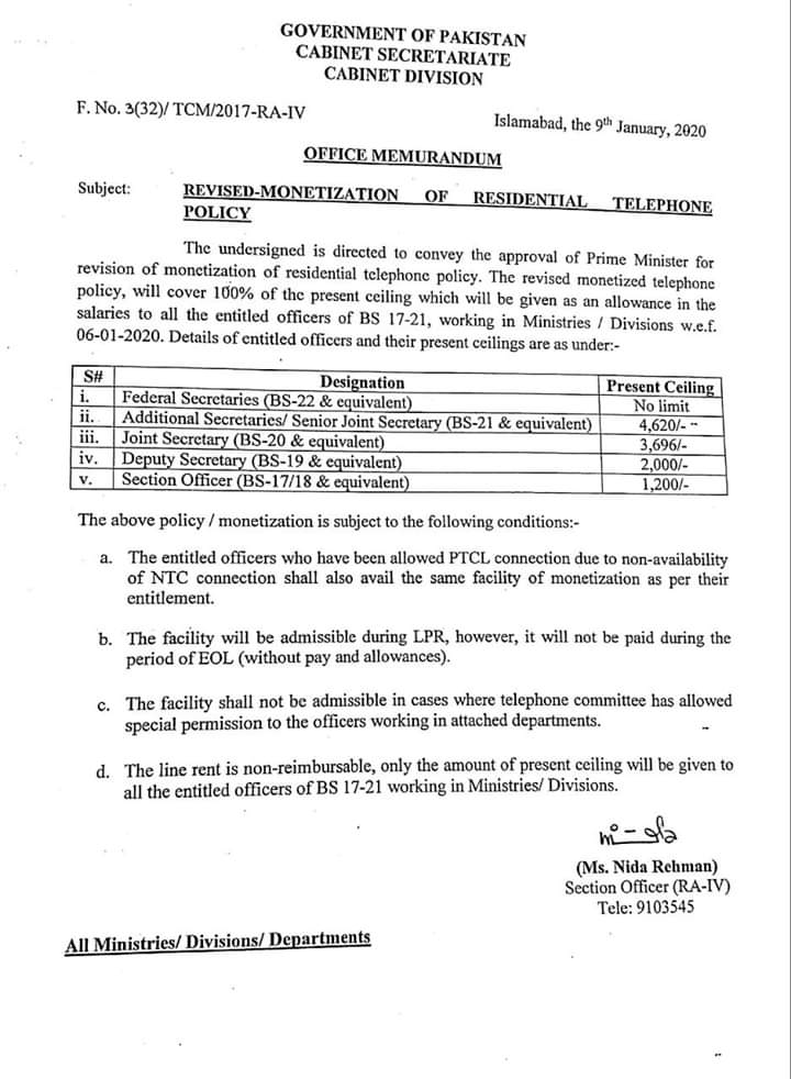 Revised Monetization Residential Telephone Policy 2020