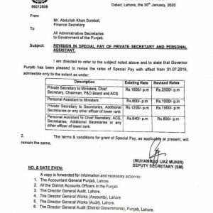Notification of Revised Rates Special Pay for Private Secretaries and Personal Assistant