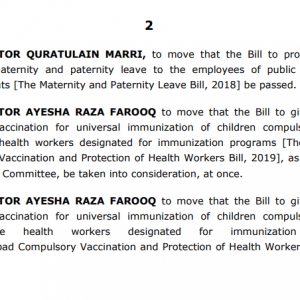 Senate Bill 6 Months Maternity Leave and 3 Months Paternity Leave