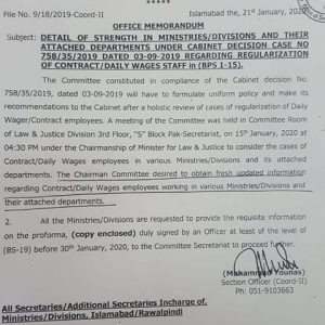 Updates of Regularization Federal Contract Employees / Daily Wages Employees