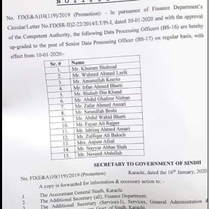 Upgradation of Data Processing Officers to BPS-17 Sindh