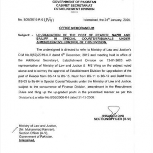 Office Memorandum of Upgradation of the Post of Reader, Nazir and Bailiff